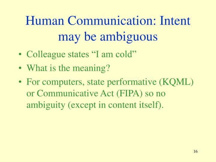 Human Communication: Intent may be ambiguous