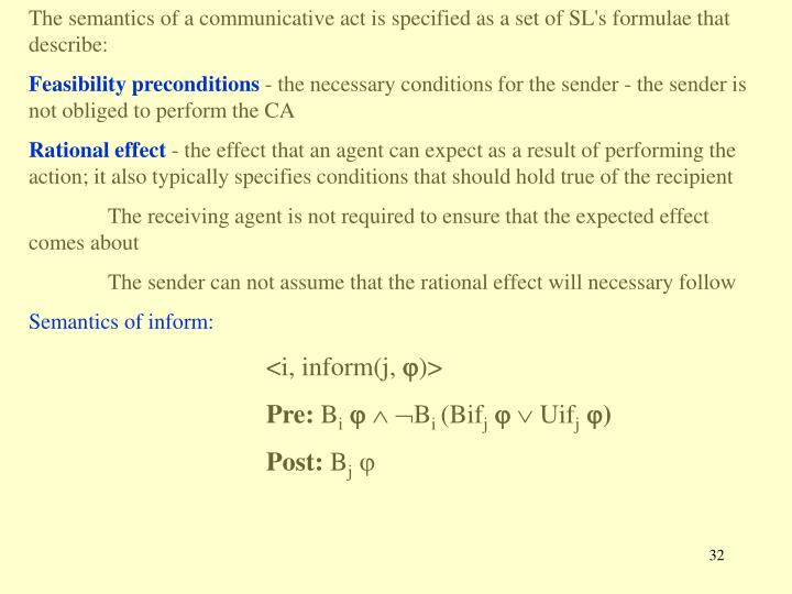 The semantics of a communicative act is specified as a set of SL's formulae that describe: