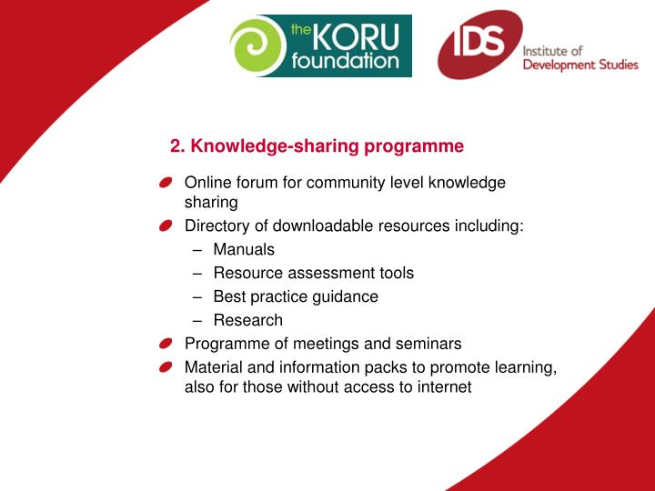 2. Knowledge-sharing programme
