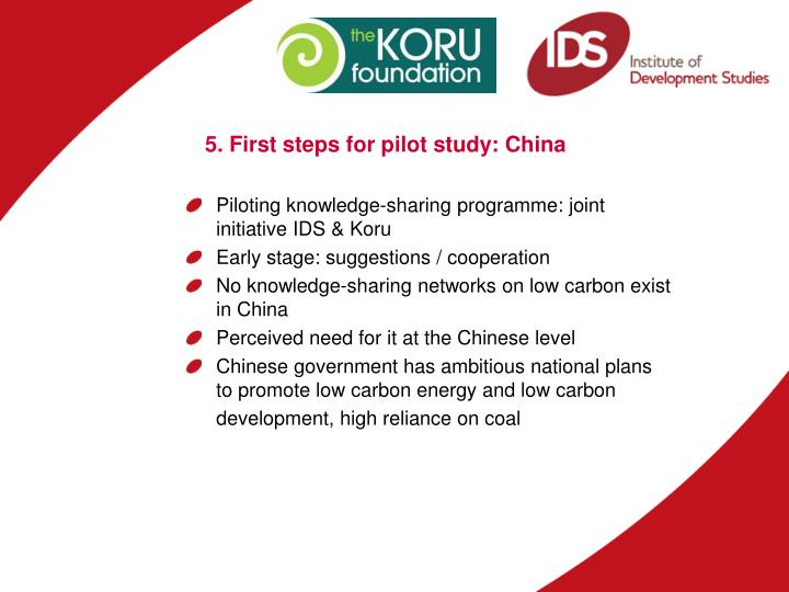 5. First steps for pilot study: China