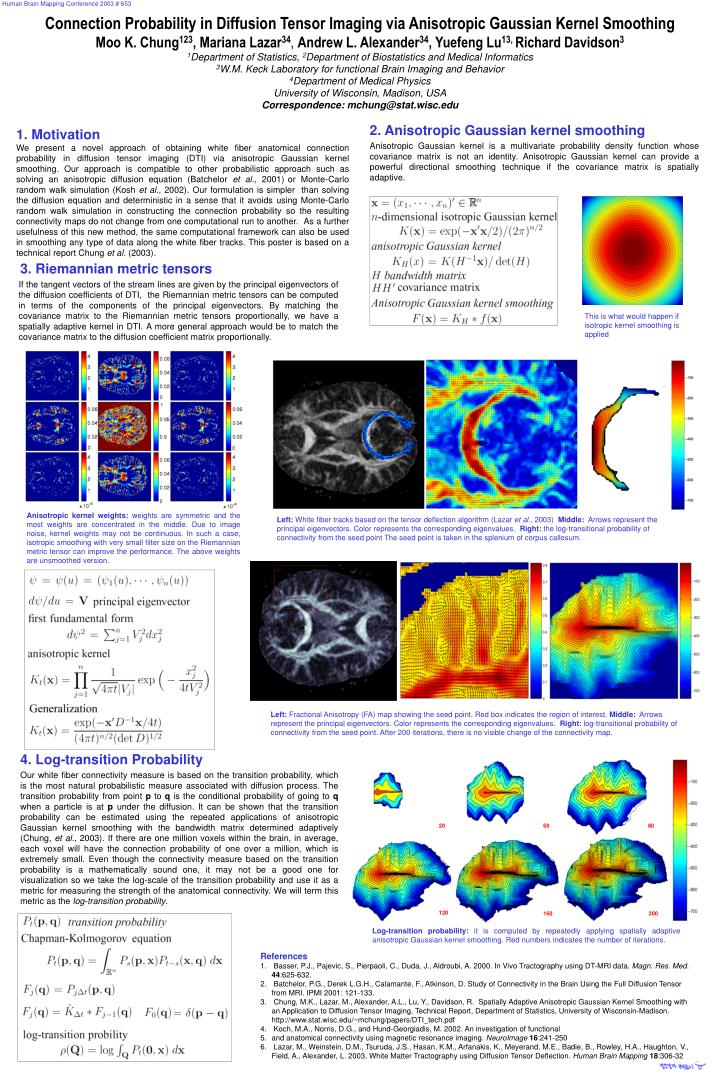 PPT - Connection Probability in Diffusion Tensor Imaging via