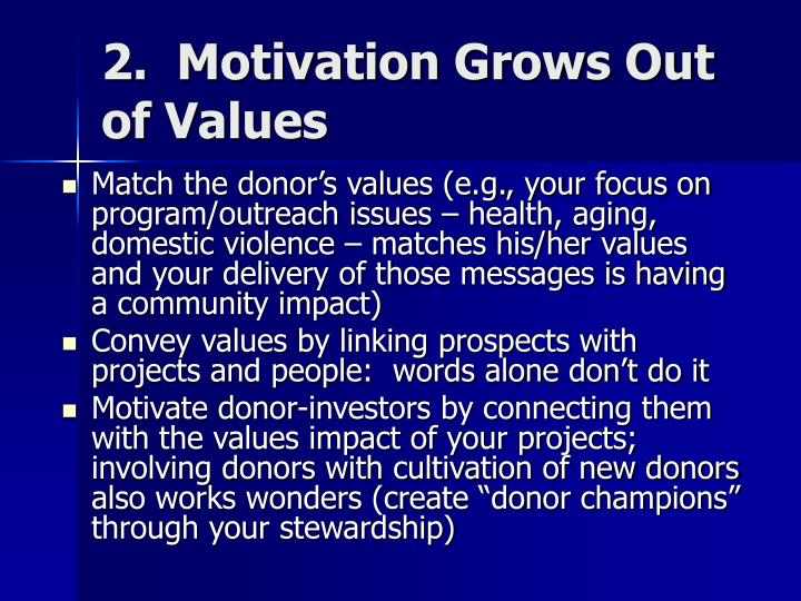 2.  Motivation Grows Out of Values