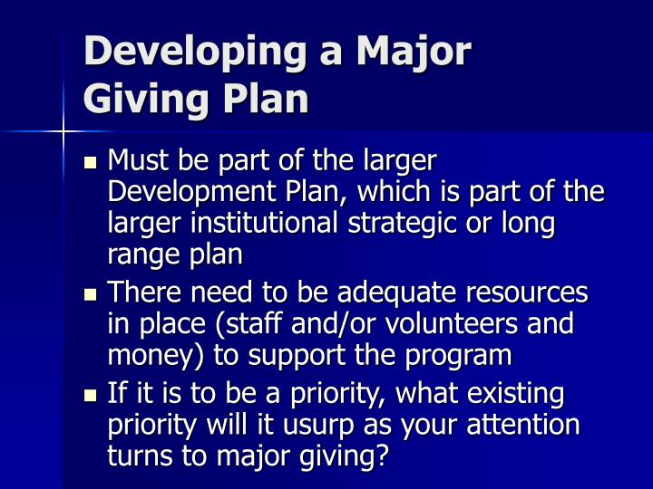 Developing a Major Giving Plan