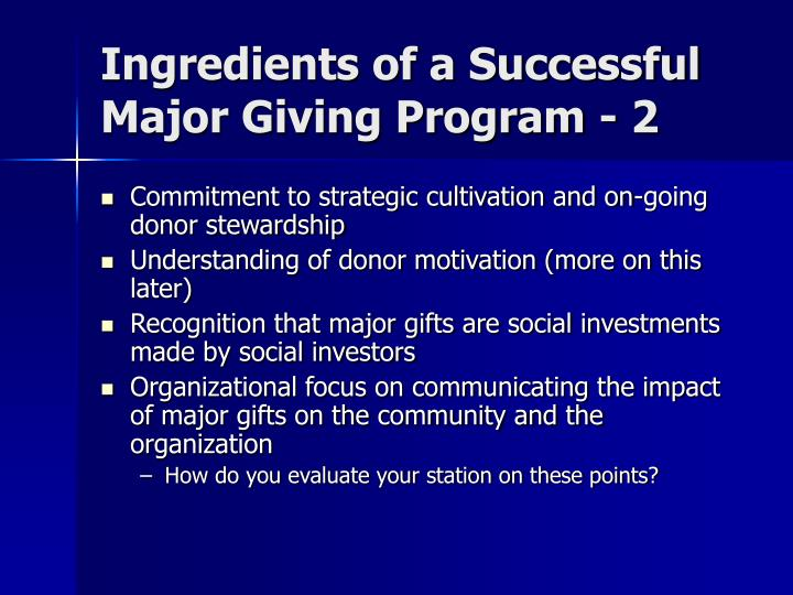 Ingredients of a Successful Major Giving Program - 2