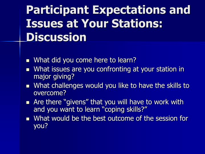 Participant Expectations and Issues at Your Stations:  Discussion