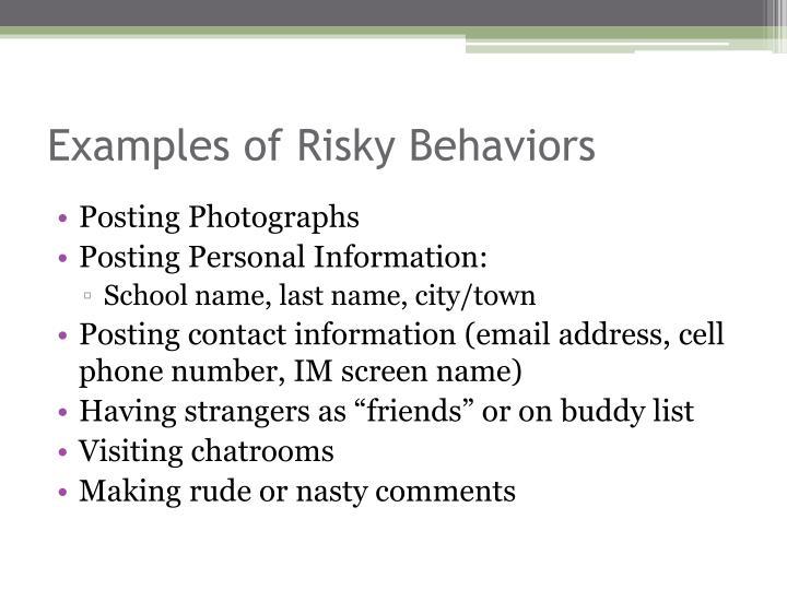 Examples of Risky Behaviors