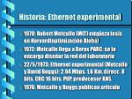 historia ethernet experimental
