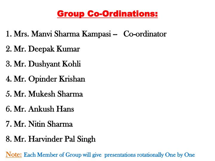 Group Co-Ordinations: