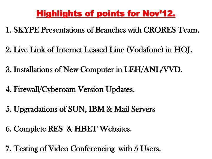Highlights of points for Nov'12.