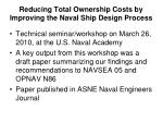 reducing total ownership costs by improving the naval ship design process