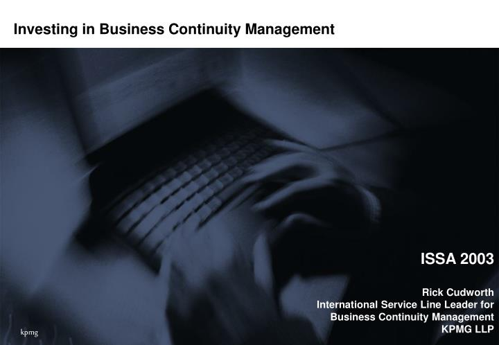 investing in business continuity management n.
