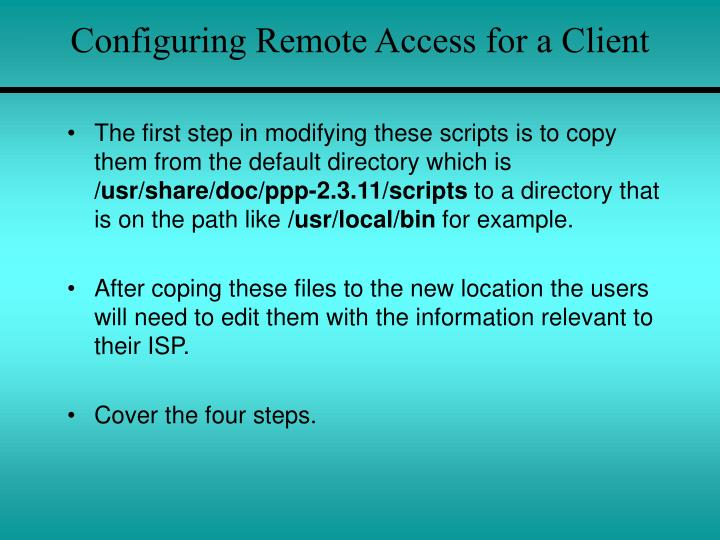 Configuring Remote Access for a Client