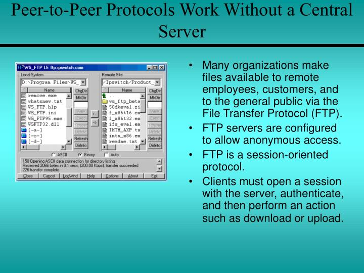 Peer-to-Peer Protocols Work Without a Central Server