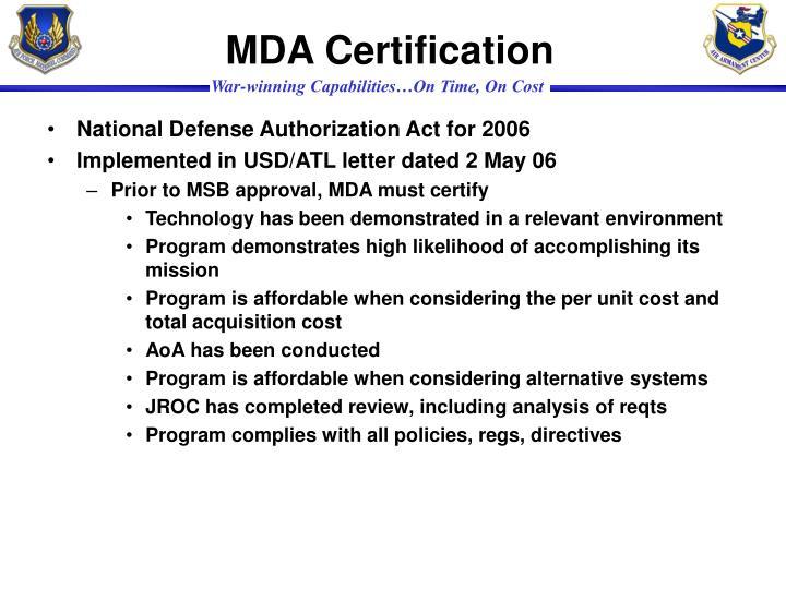 MDA Certification