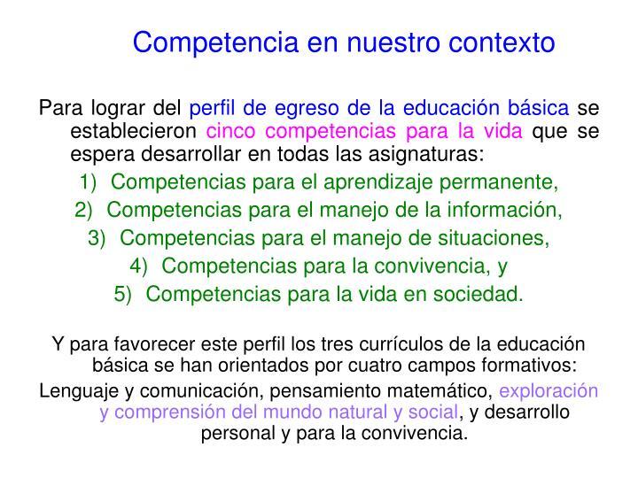 Competencia en nuestro contexto