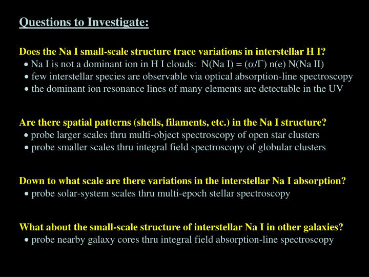 Questions to Investigate: