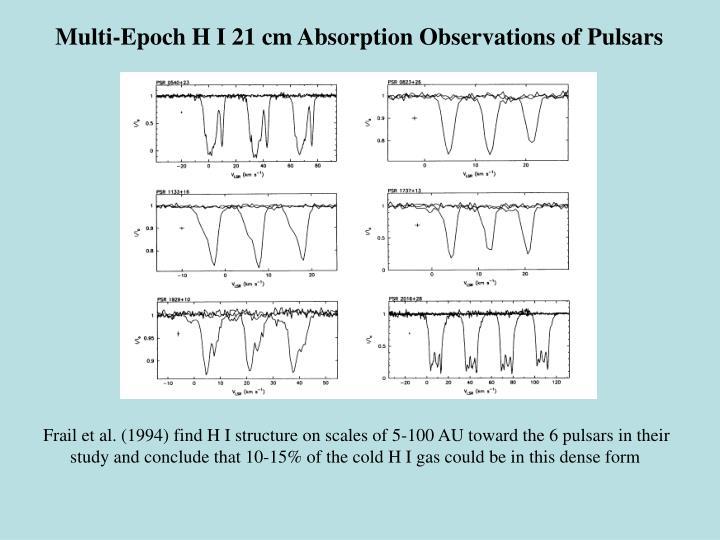 Multi-Epoch H I 21 cm Absorption Observations of Pulsars
