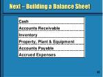 next building a balance sheet