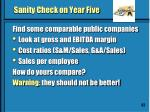 sanity check on year five