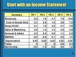 start with an income statement