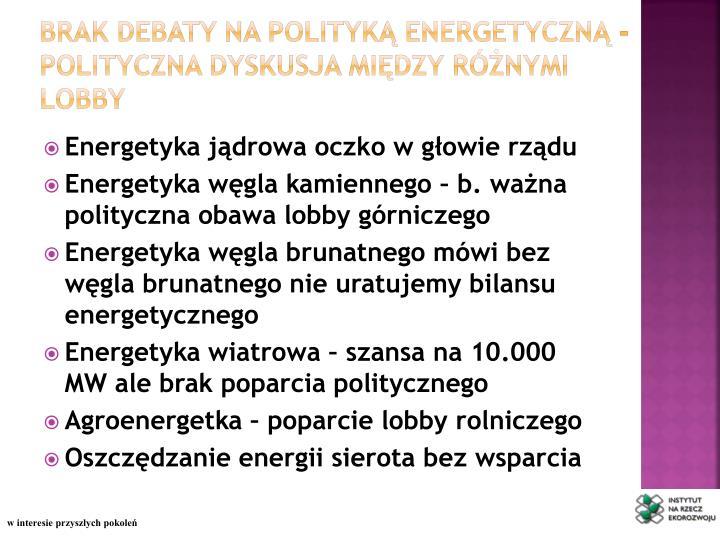 Brak debaty na polityką energetyczną -
