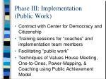 phase iii implementation public work