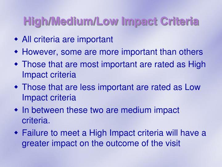 High/Medium/Low Impact Criteria