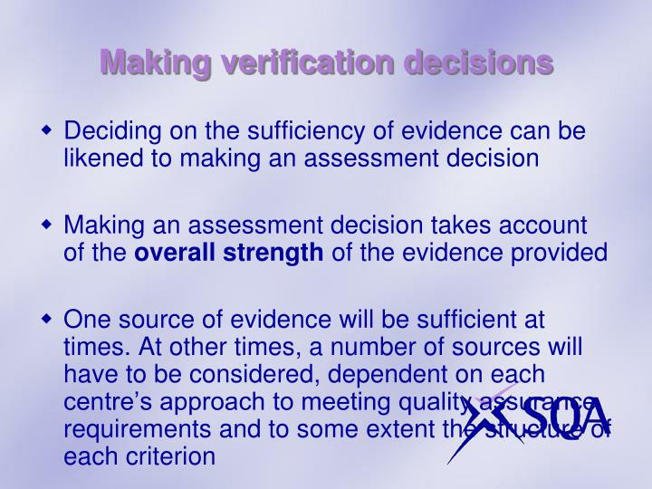 Making verification decisions