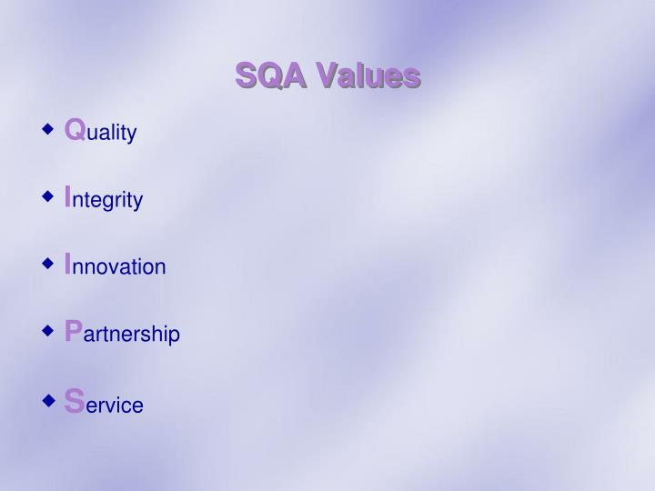 SQA Values