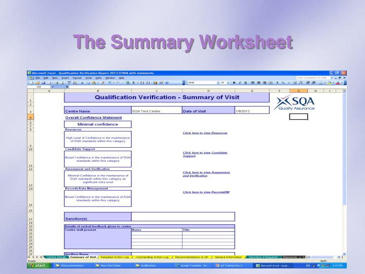 The Summary Worksheet