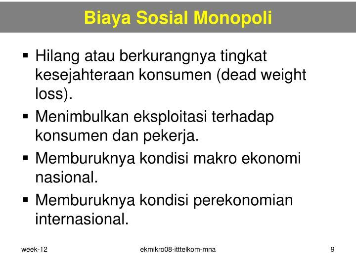 Biaya Sosial Monopoli