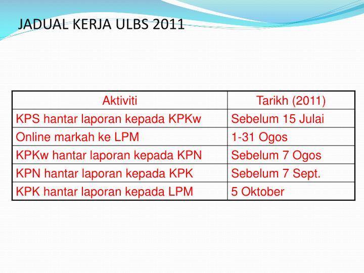 Jadual kerja ulbs 20111