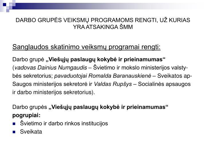 Darbo grup s veiksm programoms rengti u kurias yra atsakinga mm1
