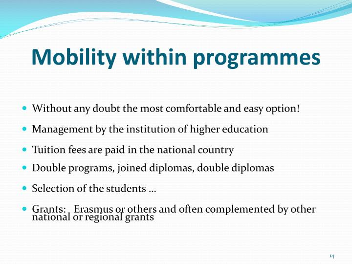 Mobility within programmes