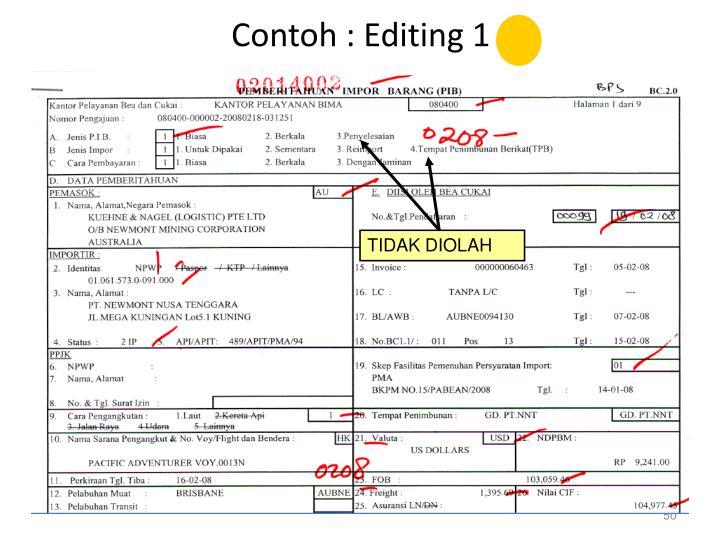 Contoh : Editing 1