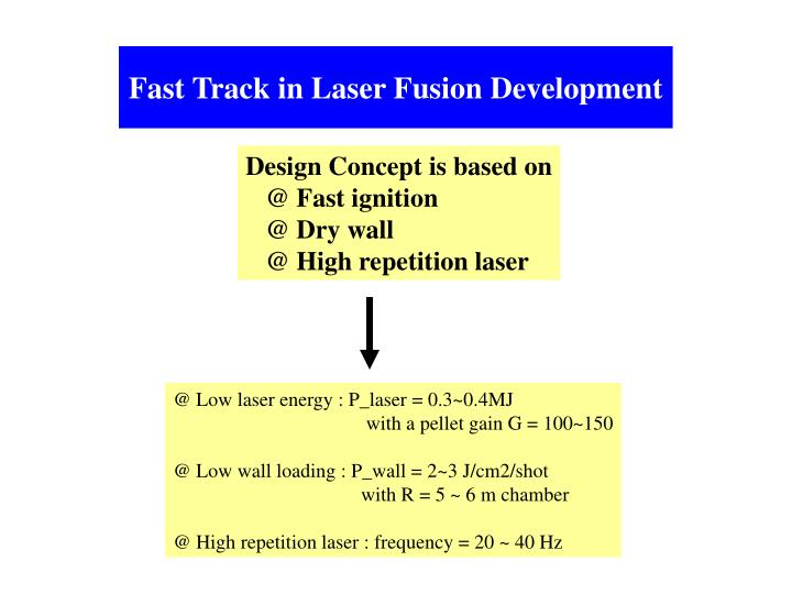 Fast Track in Laser Fusion Development