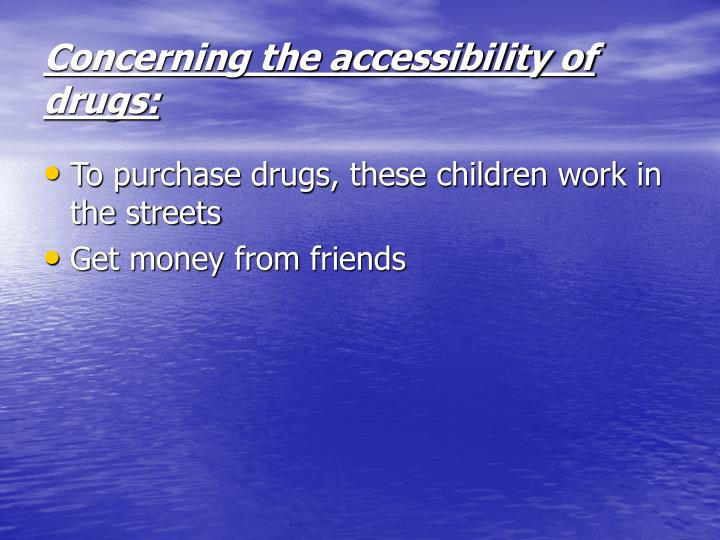 Concerning the accessibility of drugs: