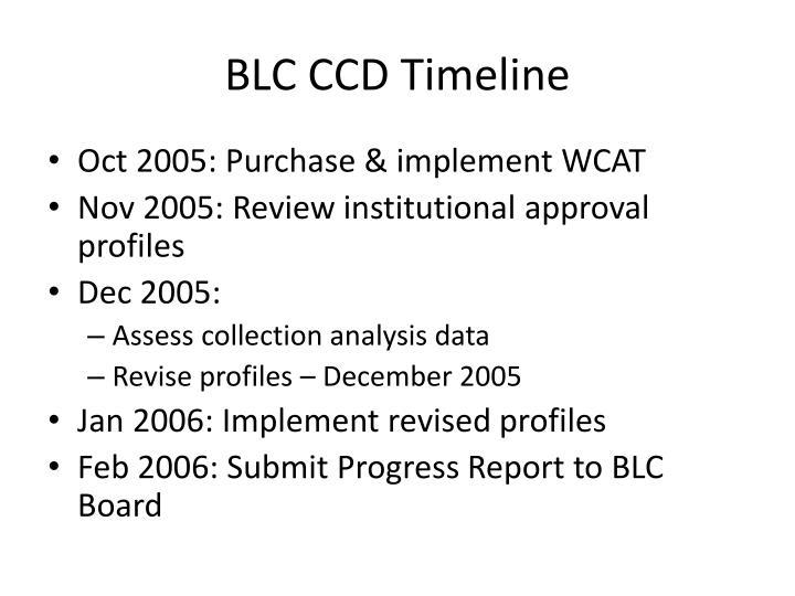 BLC CCD Timeline