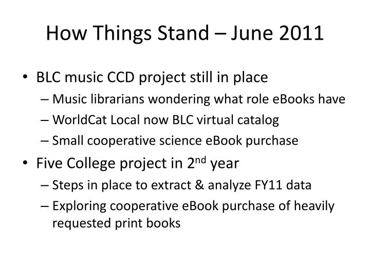 How Things Stand – June 2011