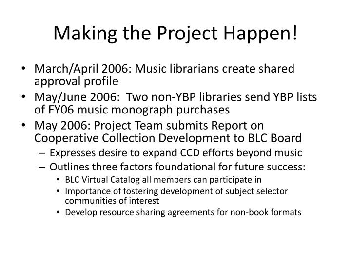 Making the Project Happen!