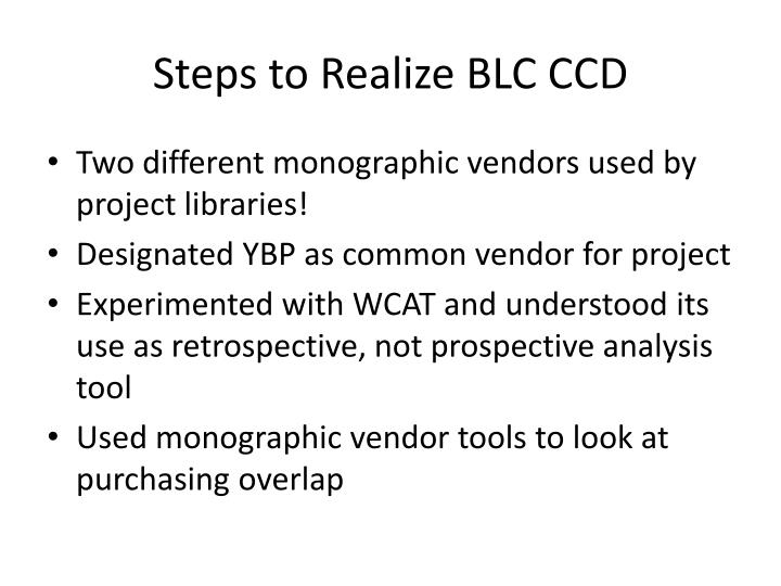 Steps to Realize BLC CCD