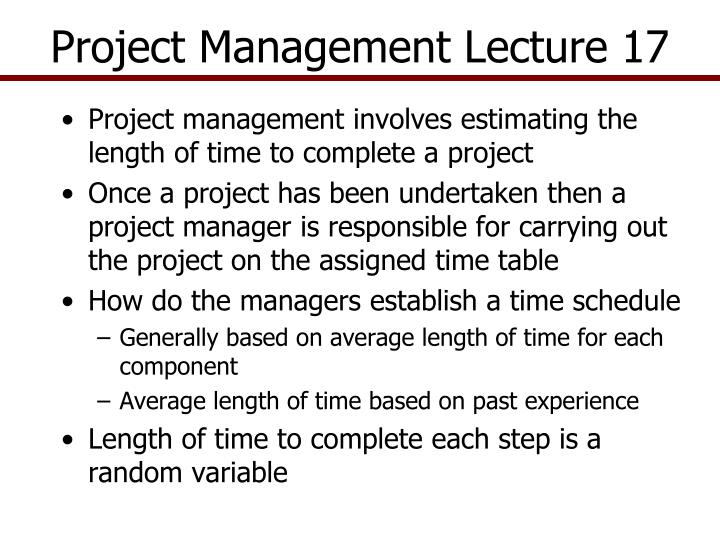 project management lecture 17 n.
