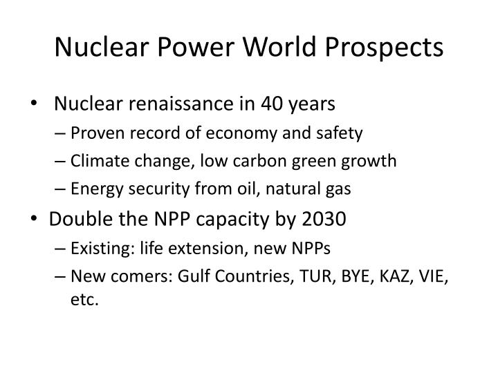 Nuclear Power World Prospects