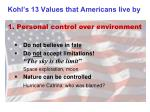 kohl s 13 values that americans live by