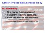kohl s 13 values that americans live by9