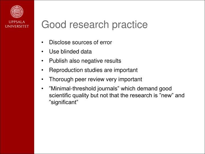 Good research practice