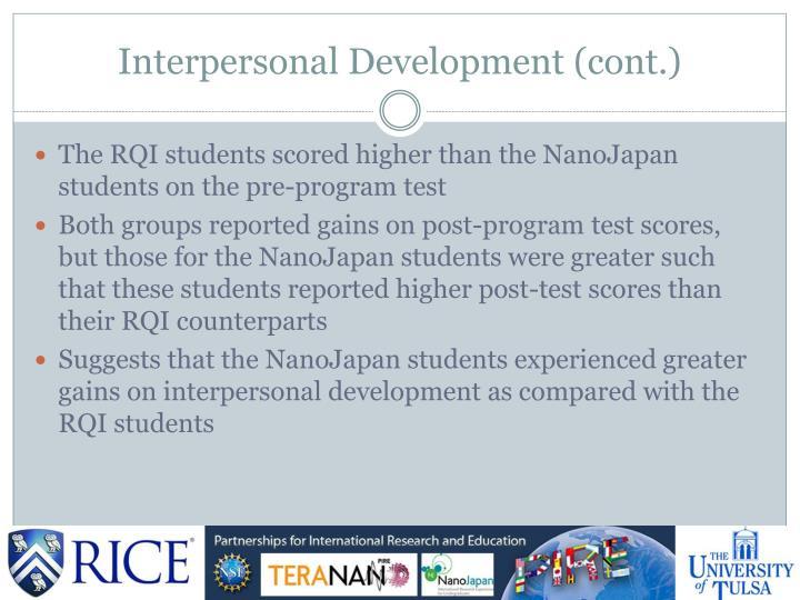 Interpersonal Development (cont.)