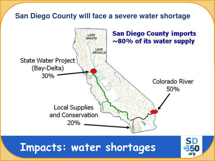 San Diego County will face a severe water shortage