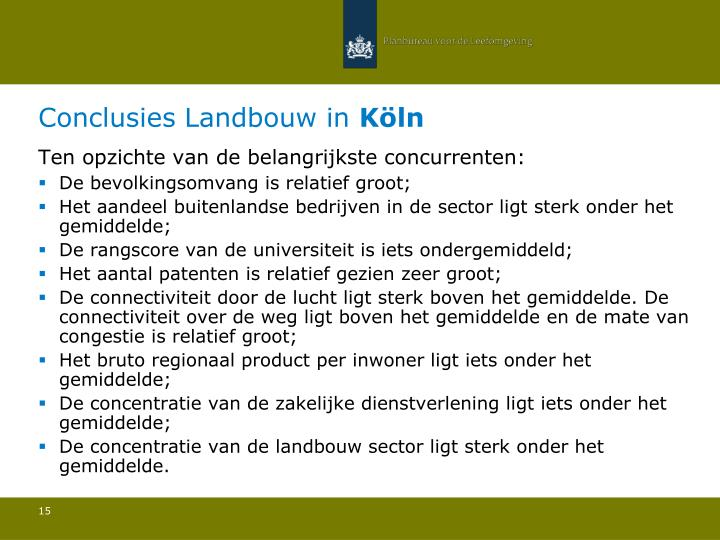 Conclusies Landbouw in