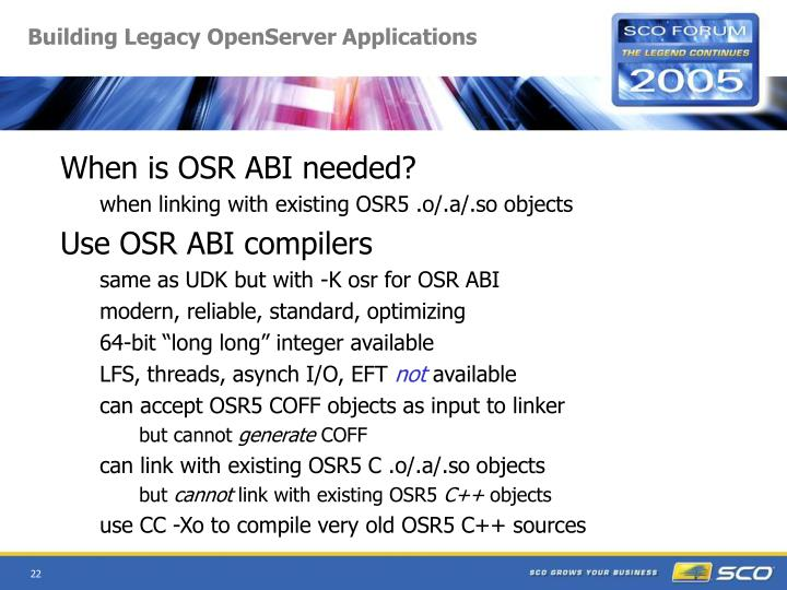 Building Legacy OpenServer Applications